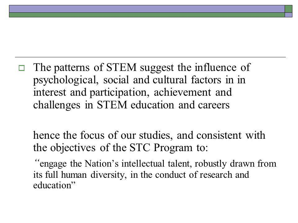 The patterns of STEM suggest the influence of psychological, social and cultural factors in in interest and participation, achievement and challenges in STEM education and careers hence the focus of our studies, and consistent with the objectives of the STC Program to: engage the Nation's intellectual talent, robustly drawn from its full human diversity, in the conduct of research and education