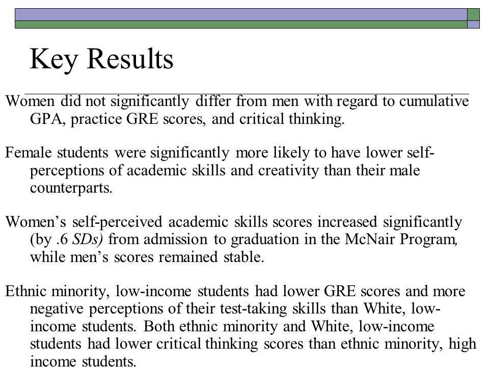 Key Results Women did not significantly differ from men with regard to cumulative GPA, practice GRE scores, and critical thinking.