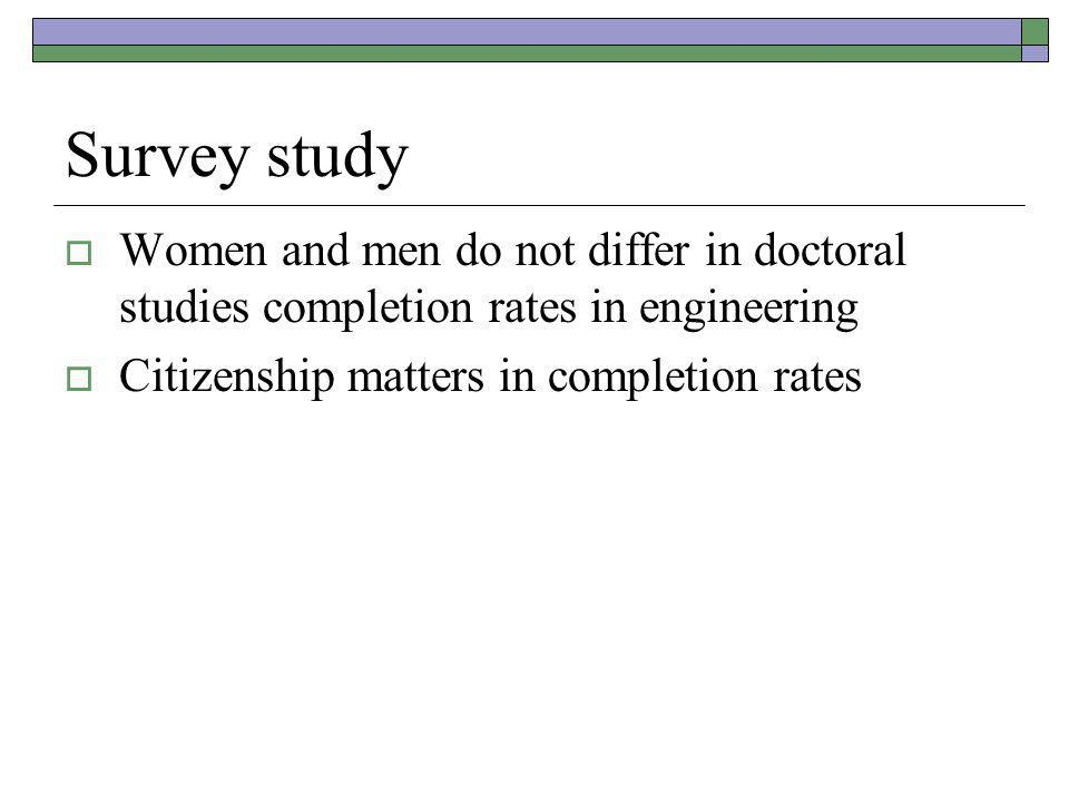 Survey study  Women and men do not differ in doctoral studies completion rates in engineering  Citizenship matters in completion rates