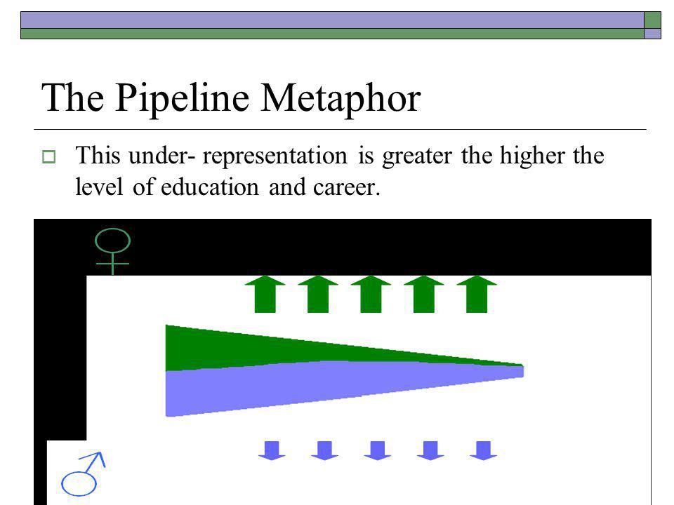 The Pipeline Metaphor  This under- representation is greater the higher the level of education and career.