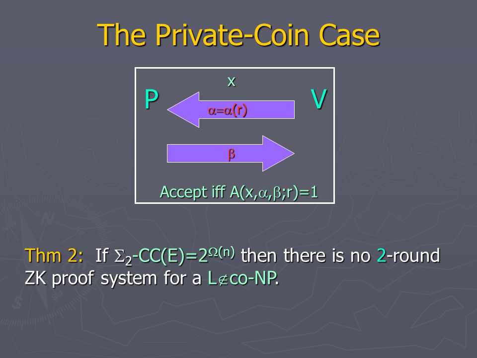 The Private-Coin Case Thm 2: If  2 -CC(E)=2  (n) then there is no 2-round ZK proof system for a L  co-NP.