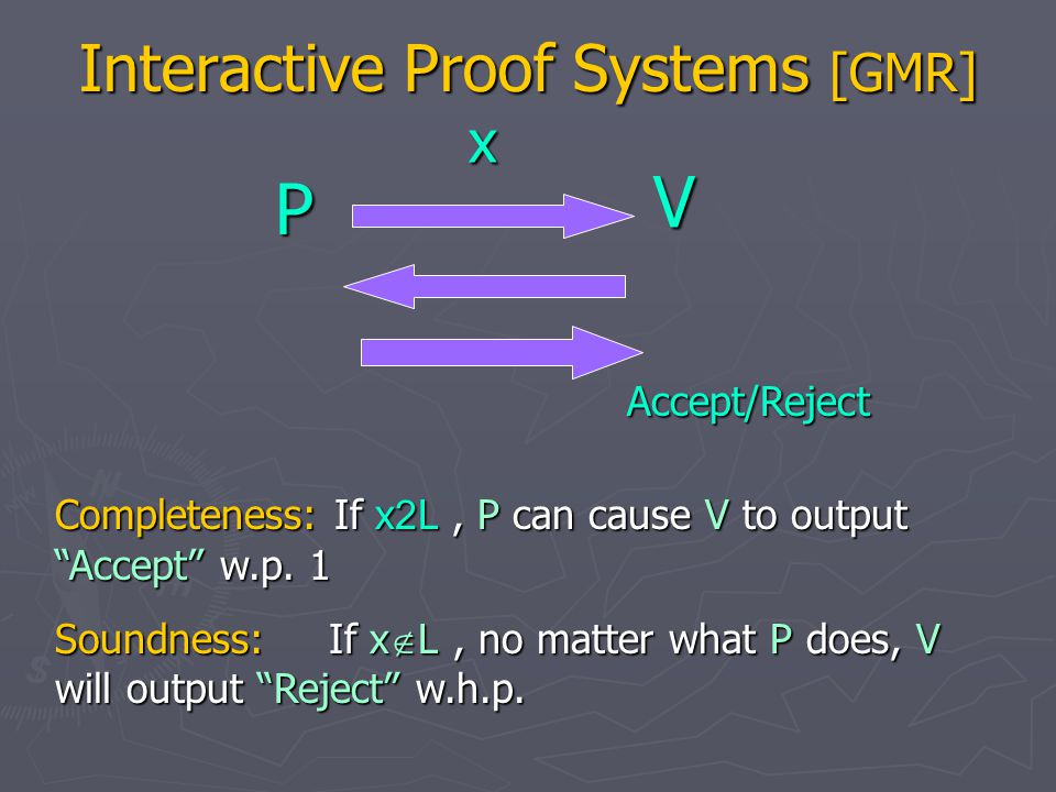 Interactive Proof Systems [GMR] P V x Accept/Reject An interactive proof system is zero-knowledge (ZK) if verifier cannot learn anything new after interacting with the prover.