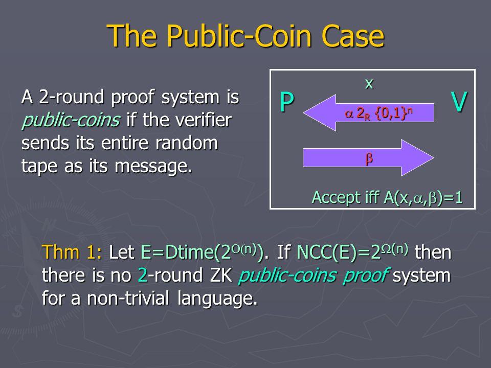 The Public-Coin Case Thm 1: Let E=Dtime(2  n) ).