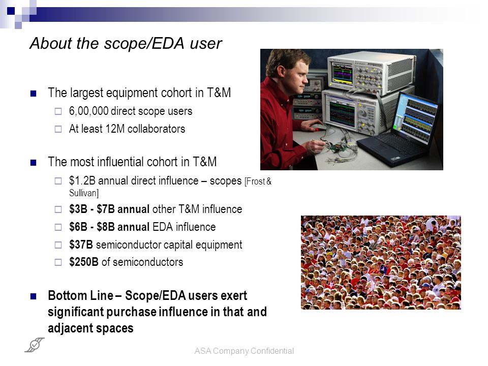 ASA Company Confidential About the scope/EDA user The largest equipment cohort in T&M  6,00,000 direct scope users  At least 12M collaborators The m