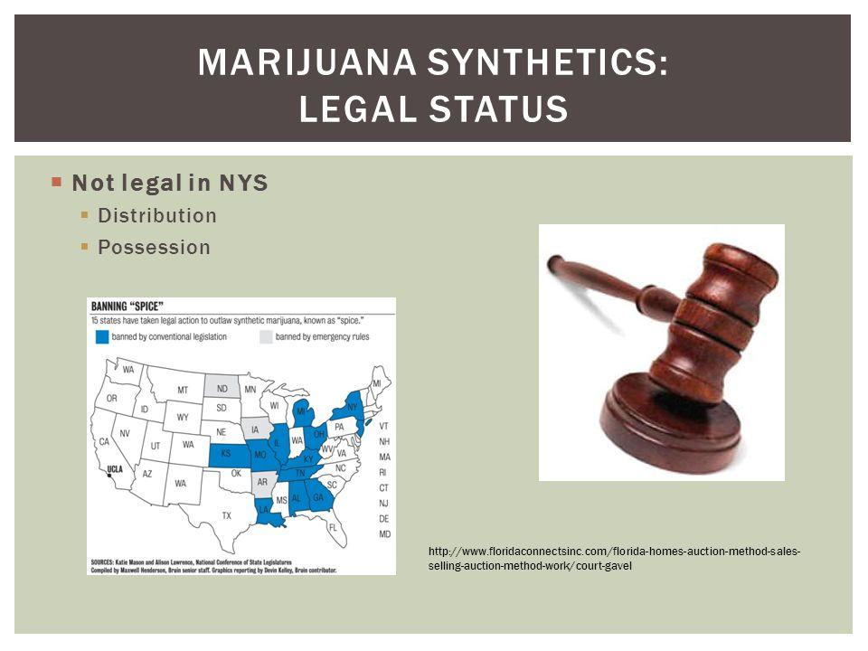  Not legal in NYS  Distribution  Possession MARIJUANA SYNTHETICS: LEGAL STATUS http://www.floridaconnectsinc.com/florida-homes-auction-method-sales