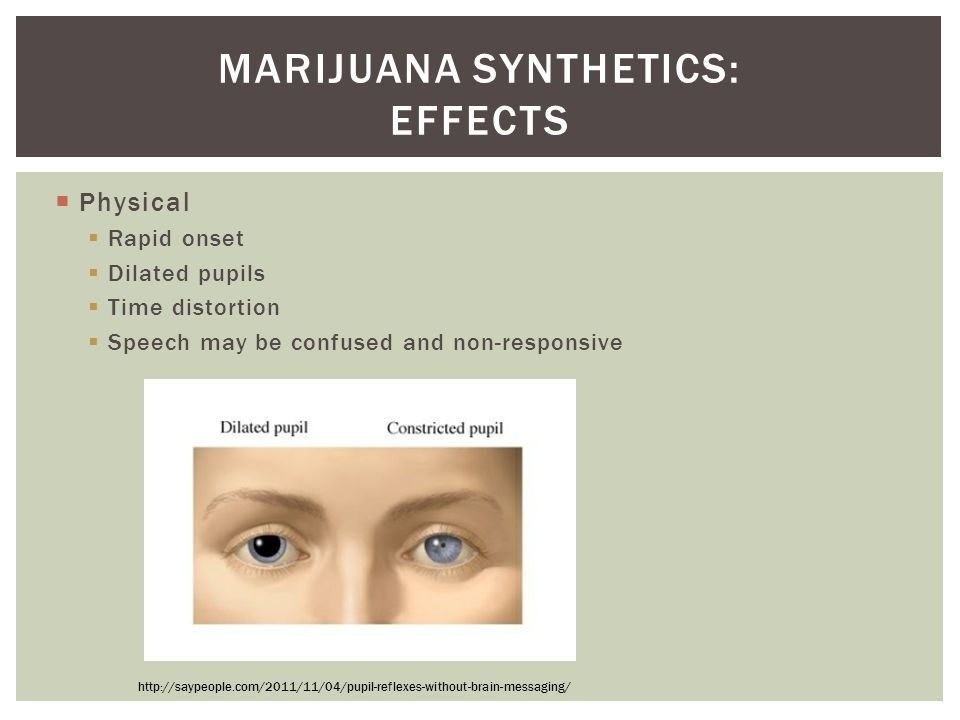 Physical  Rapid onset  Dilated pupils  Time distortion  Speech may be confused and non-responsive MARIJUANA SYNTHETICS: EFFECTS http://saypeople