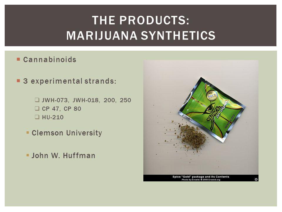  Cannabinoids  3 experimental strands:  JWH-073, JWH-018, 200, 250  CP 47, CP 80  HU-210  Clemson University  John W. Huffman THE PRODUCTS: MAR