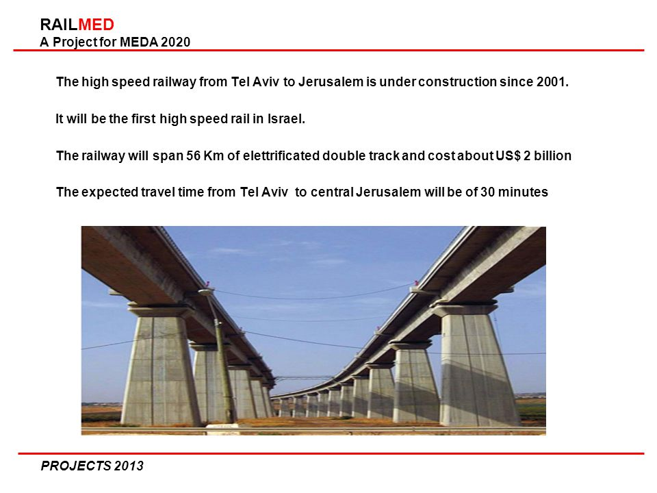 RAILMED A Project for MEDA 2020 The high speed railway from Tel Aviv to Jerusalem is under construction since 2001.