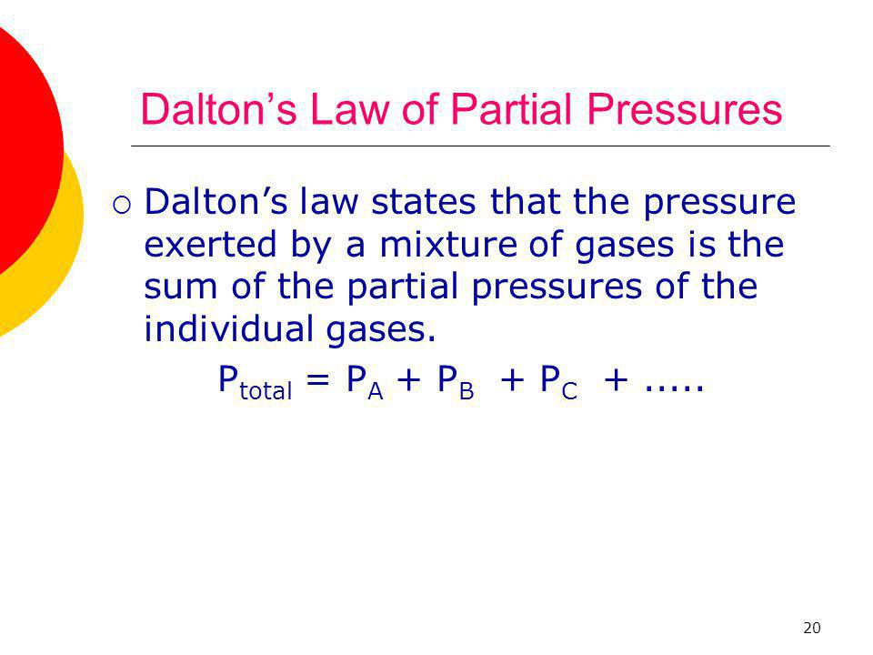 20 Dalton's Law of Partial Pressures  Dalton's law states that the pressure exerted by a mixture of gases is the sum of the partial pressures of the