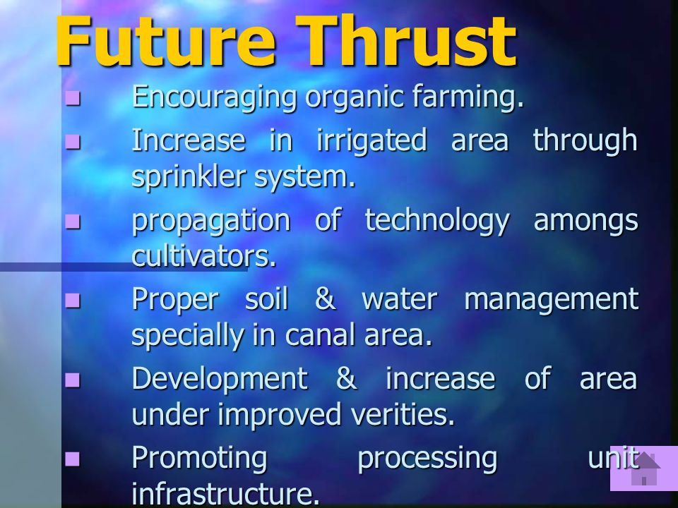 Future Thrust Encouraging organic farming. Encouraging organic farming.