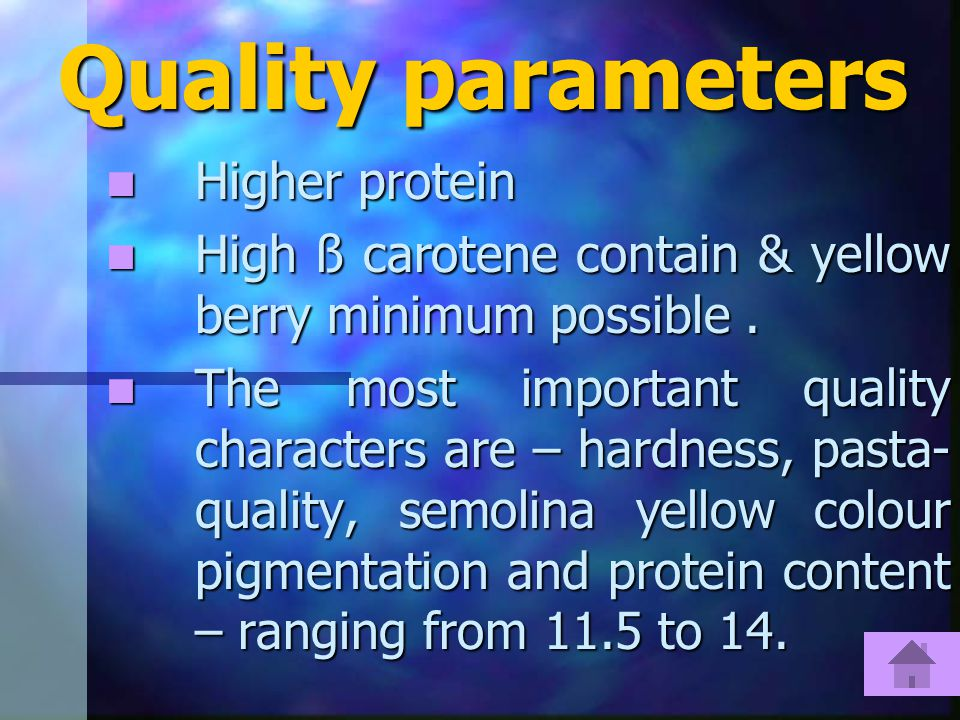 Quality parameters Higher protein Higher protein High ß carotene contain & yellow berry minimum possible.
