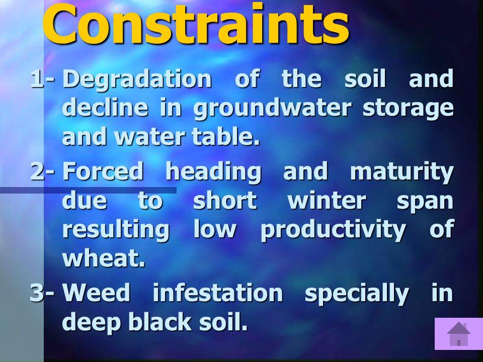 Constraints 1-Degradation of the soil and decline in groundwater storage and water table.