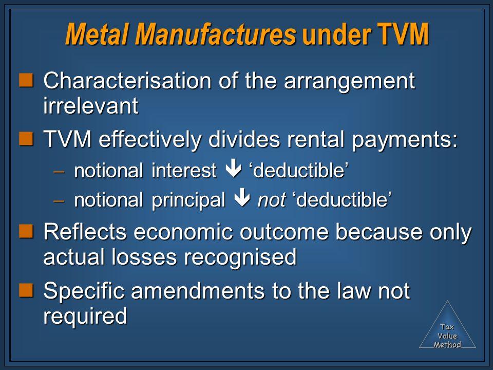 TaxValueMethod Metal Manufactures under TVM Characterisation of the arrangement irrelevant Characterisation of the arrangement irrelevant TVM effectiv