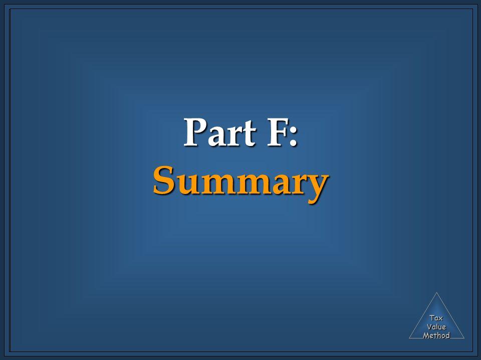 TaxValueMethod Part F: Summary