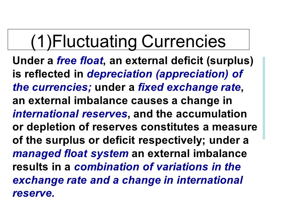 (1)Fluctuating Currencies Two differences between free and managed floats should be noted.p228 l Managed floats are floating exchange rates subjects t