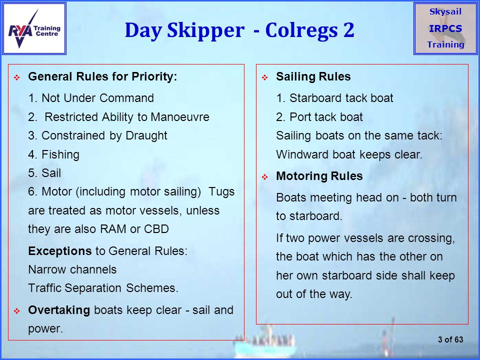Skysail IRPCS Training 3 of 63 Day Skipper - Colregs 2  General Rules for Priority: 1.