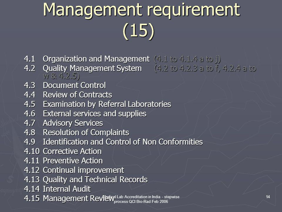 Medical Lab Accreditation in India - stepwise process QCI Bio-Rad Feb 2006 14 Management requirement (15) Management requirement (15) 4.1Organization and Management (4.1 to 4.1.4 a to j) 4.2Quality Management System (4.2 to 4.2.3 a to f, 4.2.4 a to w & 4.2.5) 4.3Document Control 4.4Review of Contracts 4.5Examination by Referral Laboratories 4.6External services and supplies 4.7Advisory Services 4.8Resolution of Complaints 4.9Identification and Control of Non Conformities 4.10Corrective Action 4.11Preventive Action 4.12Continual improvement 4.13Quality and Technical Records 4.14Internal Audit 4.15Management Review