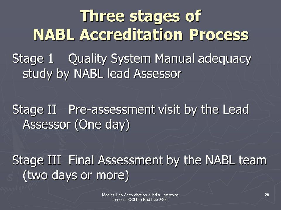 Medical Lab Accreditation in India - stepwise process QCI Bio-Rad Feb 2006 28 Three stages of NABL Accreditation Process Stage 1Quality System Manual adequacy study by NABL lead Assessor Stage IIPre-assessment visit by the Lead Assessor (One day) Stage IIIFinal Assessment by the NABL team (two days or more)