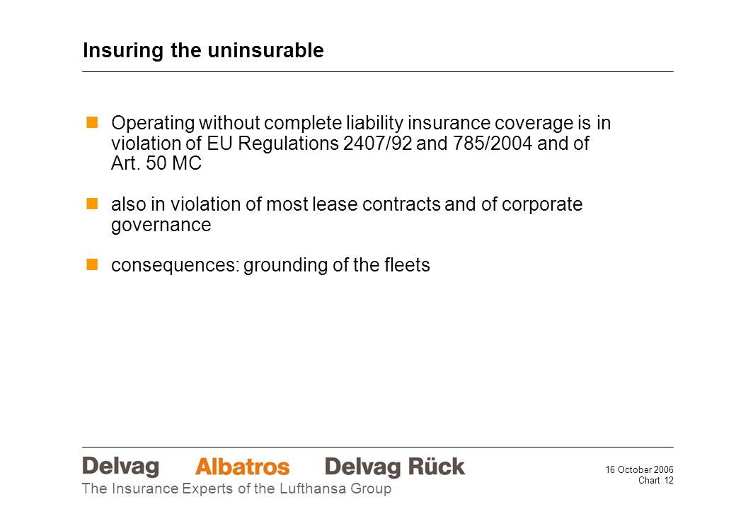 16 October 2006 Chart 12 The Insurance Experts of the Lufthansa Group Operating without complete liability insurance coverage is in violation of EU Regulations 2407/92 and 785/2004 and of Art.