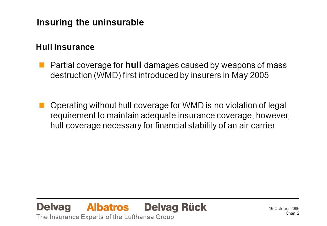 16 October 2006 Chart 2 The Insurance Experts of the Lufthansa Group Partial coverage for hull damages caused by weapons of mass destruction (WMD) first introduced by insurers in May 2005 Operating without hull coverage for WMD is no violation of legal requirement to maintain adequate insurance coverage, however, hull coverage necessary for financial stability of an air carrier Insuring the uninsurable Hull Insurance