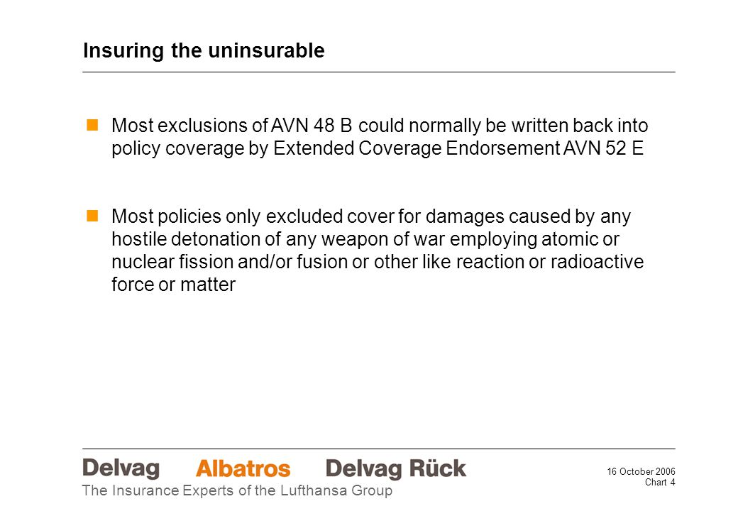 16 October 2006 Chart 4 The Insurance Experts of the Lufthansa Group Most exclusions of AVN 48 B could normally be written back into policy coverage by Extended Coverage Endorsement AVN 52 E Most policies only excluded cover for damages caused by any hostile detonation of any weapon of war employing atomic or nuclear fission and/or fusion or other like reaction or radioactive force or matter Insuring the uninsurable