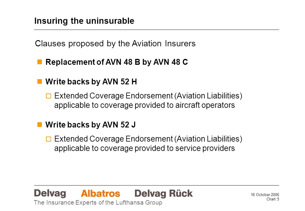 16 October 2006 Chart 5 The Insurance Experts of the Lufthansa Group Insuring the uninsurable Clauses proposed by the Aviation Insurers Replacement of AVN 48 B by AVN 48 C Write backs by AVN 52 H  Extended Coverage Endorsement (Aviation Liabilities) applicable to coverage provided to aircraft operators Write backs by AVN 52 J  Extended Coverage Endorsement (Aviation Liabilities) applicable to coverage provided to service providers