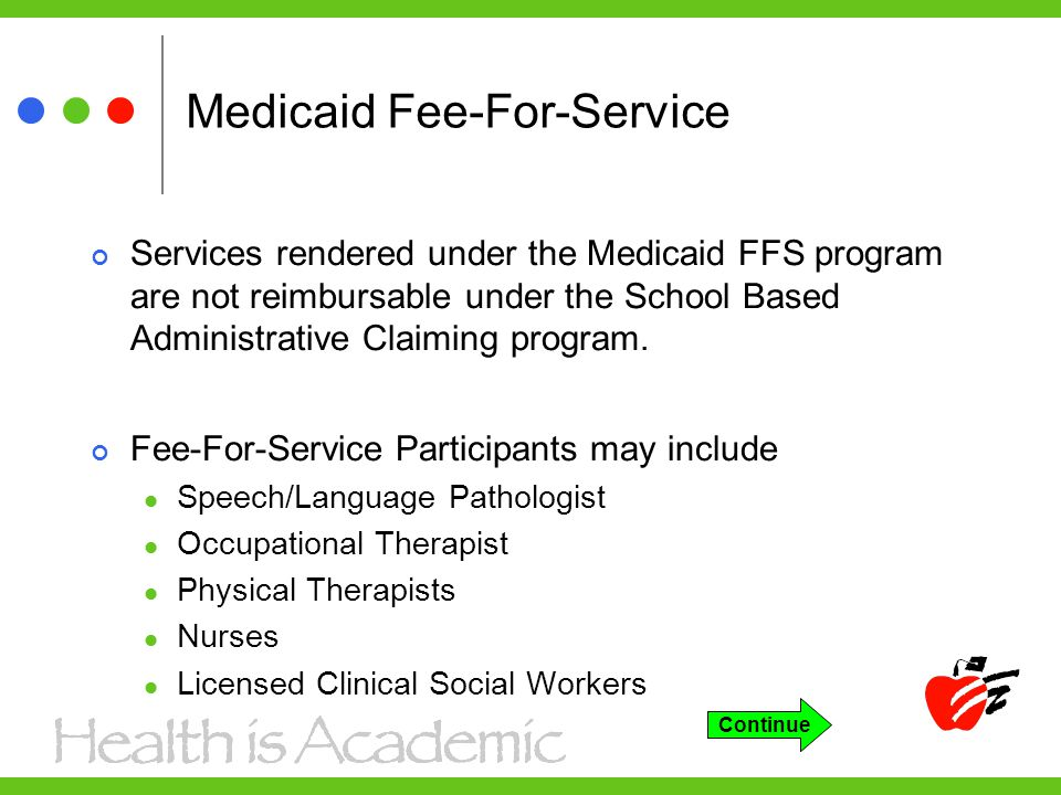 Medicaid Fee-For-Service Services rendered under the Medicaid FFS program are not reimbursable under the School Based Administrative Claiming program.