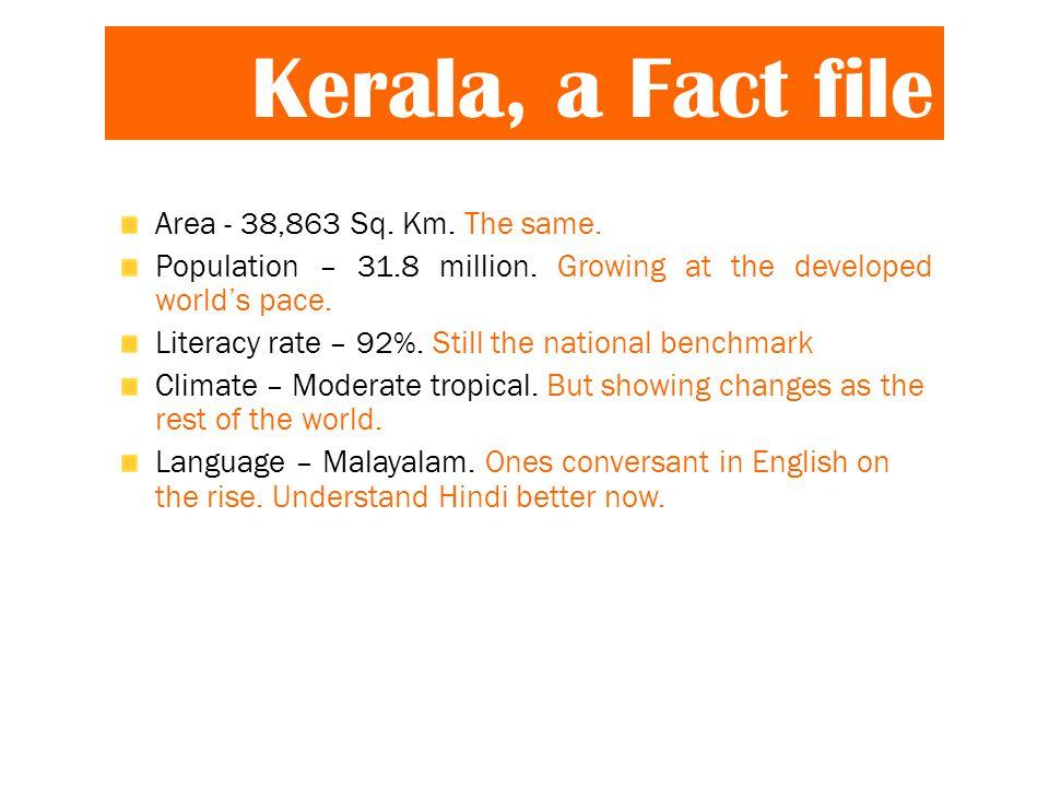 Kerala, a Fact file Area - 38,863 Sq. Km. The same.