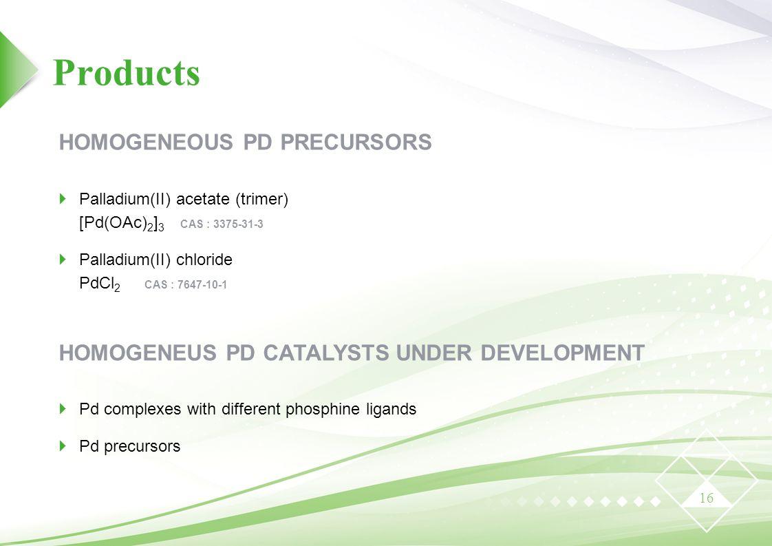 Products 16 HOMOGENEOUS PD PRECURSORS  Palladium(II) acetate (trimer) [Pd(OAc) 2 ] 3 CAS : 3375-31-3  Palladium(II) chloride PdCl 2 CAS : 7647-10-1 HOMOGENEUS PD CATALYSTS UNDER DEVELOPMENT  Pd complexes with different phosphine ligands  Pd precursors