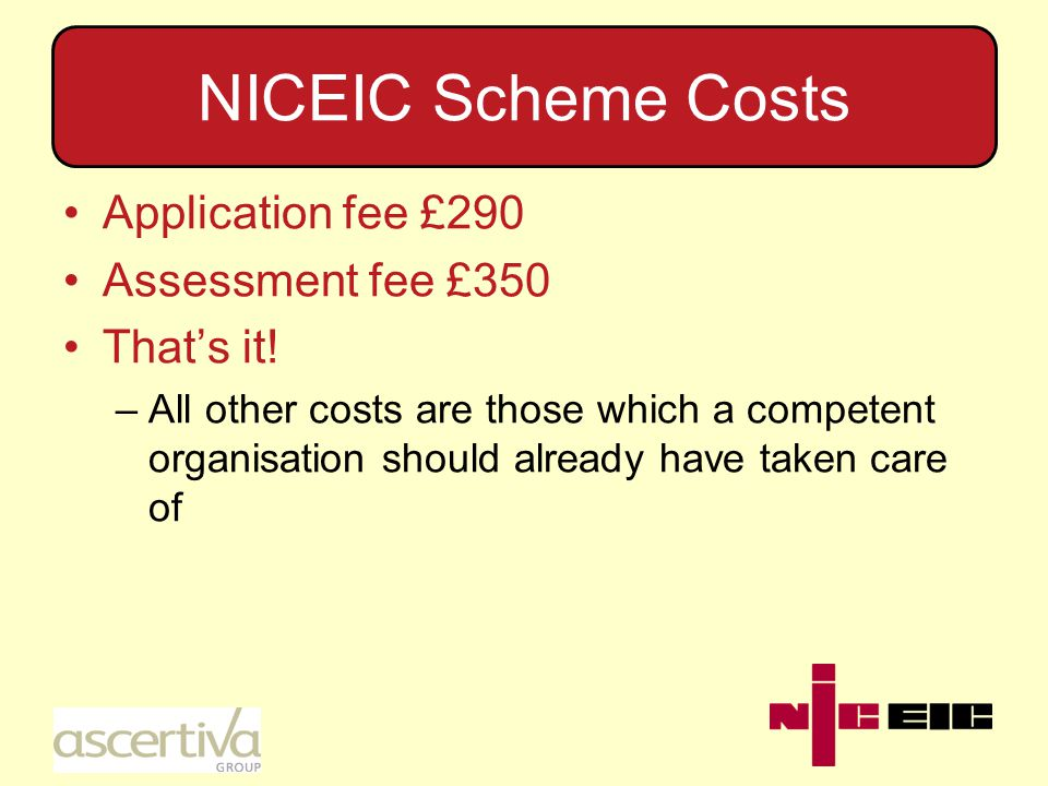 NICEIC Scheme Costs Application fee £290 Assessment fee £350 That's it.