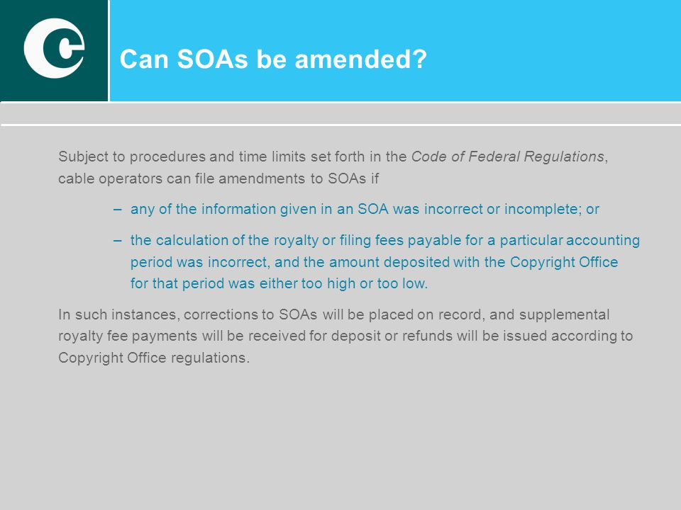 Can SOAs be amended.