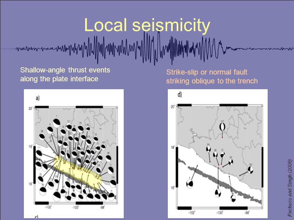 Local seismicity Shallow-angle thrust events along the plate interface Strike-slip or normal fault striking oblique to the trench Pacheco and Singh (2008)