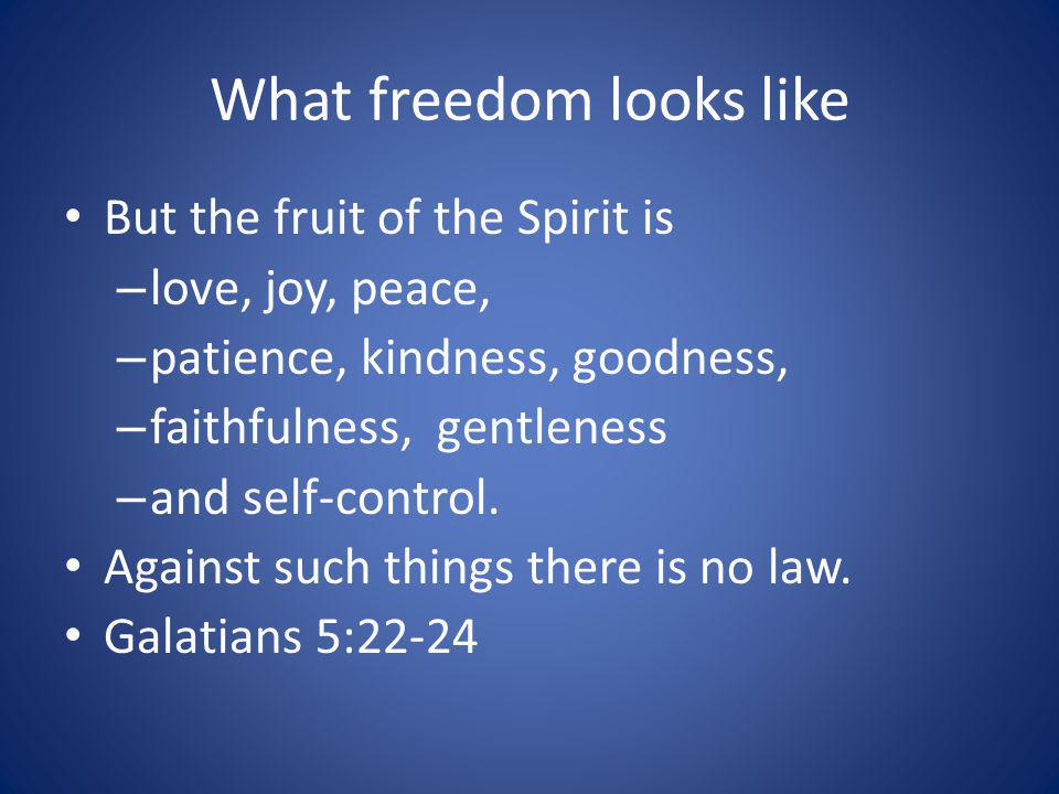 What freedom looks like But the fruit of the Spirit is – love, joy, peace, – patience, kindness, goodness, – faithfulness, gentleness – and self-control.