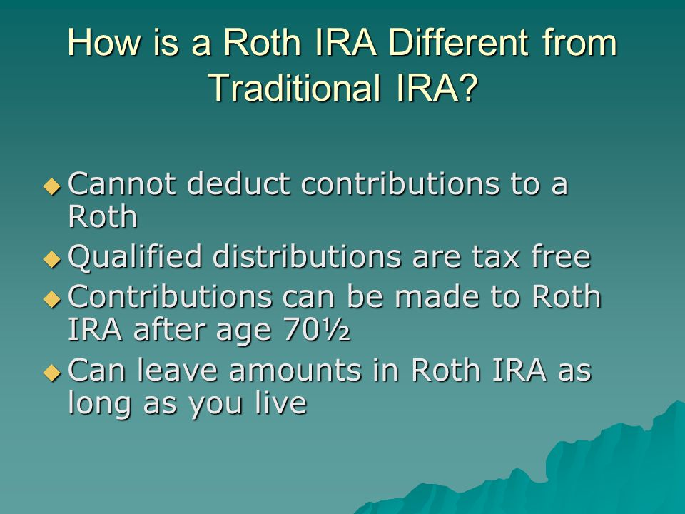 Eligible Rollover Distributions  Required Minimum Distributions (RMDs) cannot be converted to Roth IRA  72(t) payments cannot be converted to Roth IRA  Inherited IRAs cannot be converted  Only eligible rollover distributions can be converted (i.e.