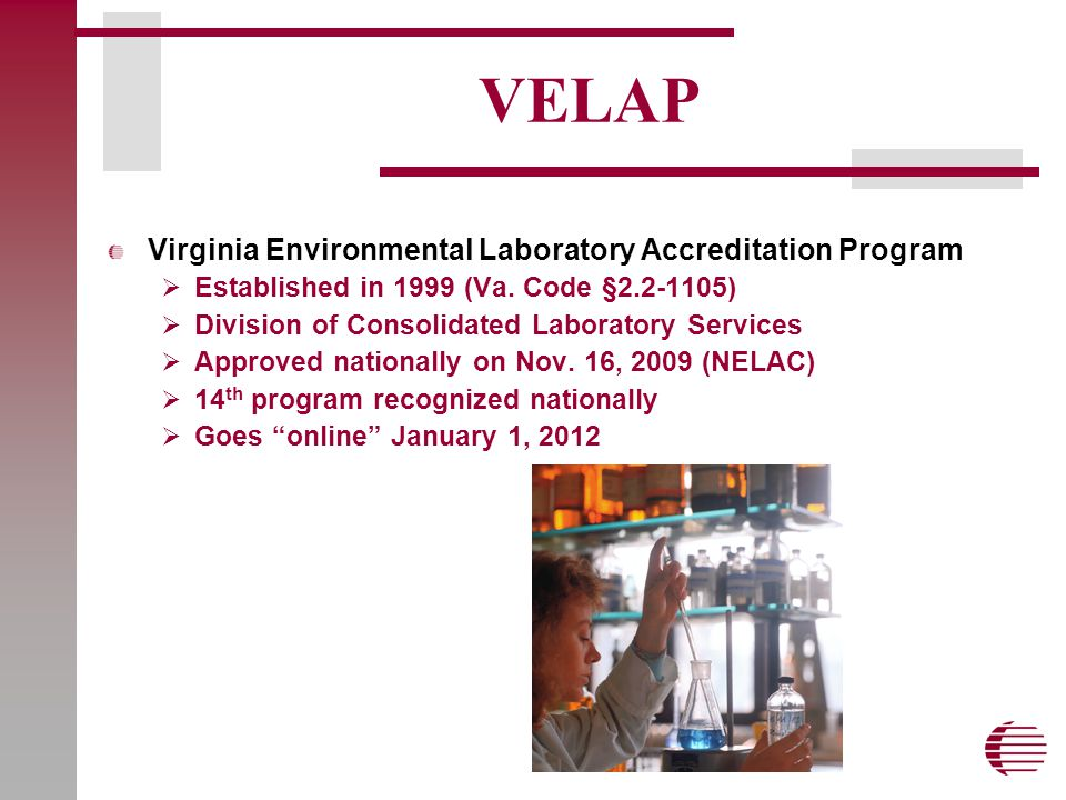 VELAP Virginia Environmental Laboratory Accreditation Program  Established in 1999 (Va.