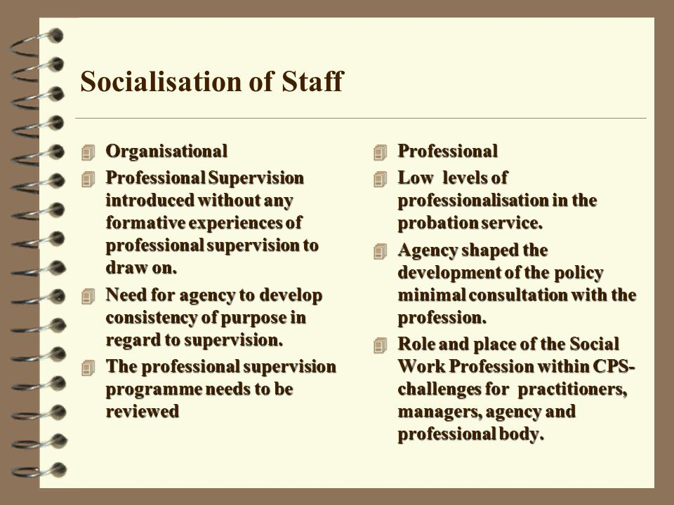 Socialisation of Staff 4 Organisational 4 Professional Supervision introduced without any formative experiences of professional supervision to draw on.