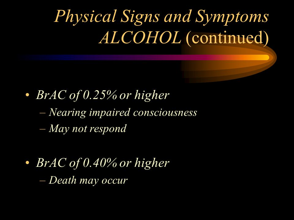 Physical Signs and Symptoms ALCOHOL (continued) BrAC of 0.25% or higher –Nearing impaired consciousness –May not respond BrAC of 0.40% or higher –Deat