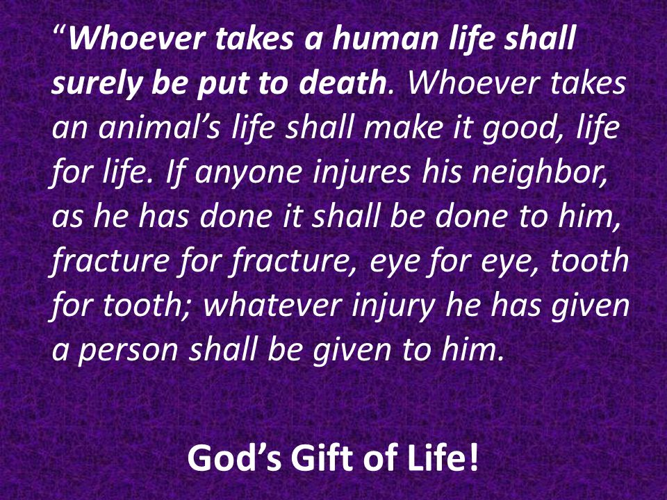 God's Gift of Life. Whoever takes a human life shall surely be put to death.