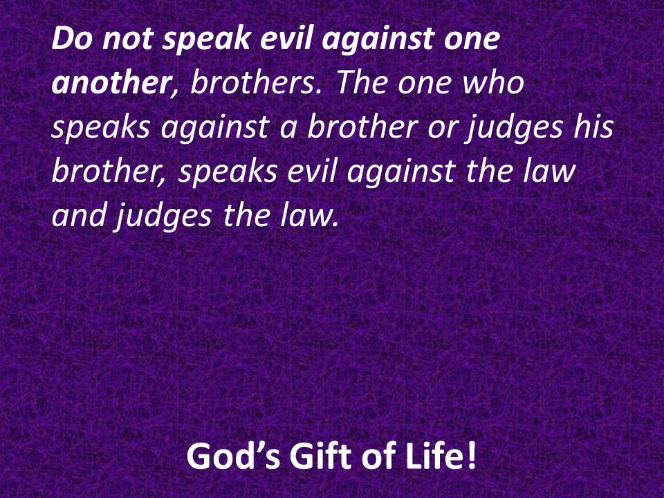 God's Gift of Life.Do not speak evil against one another, brothers.