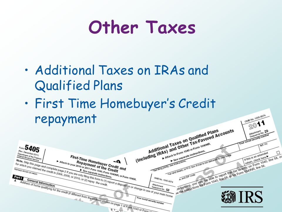 Other Taxes Additional Taxes on IRAs and Qualified Plans First Time Homebuyer's Credit repayment