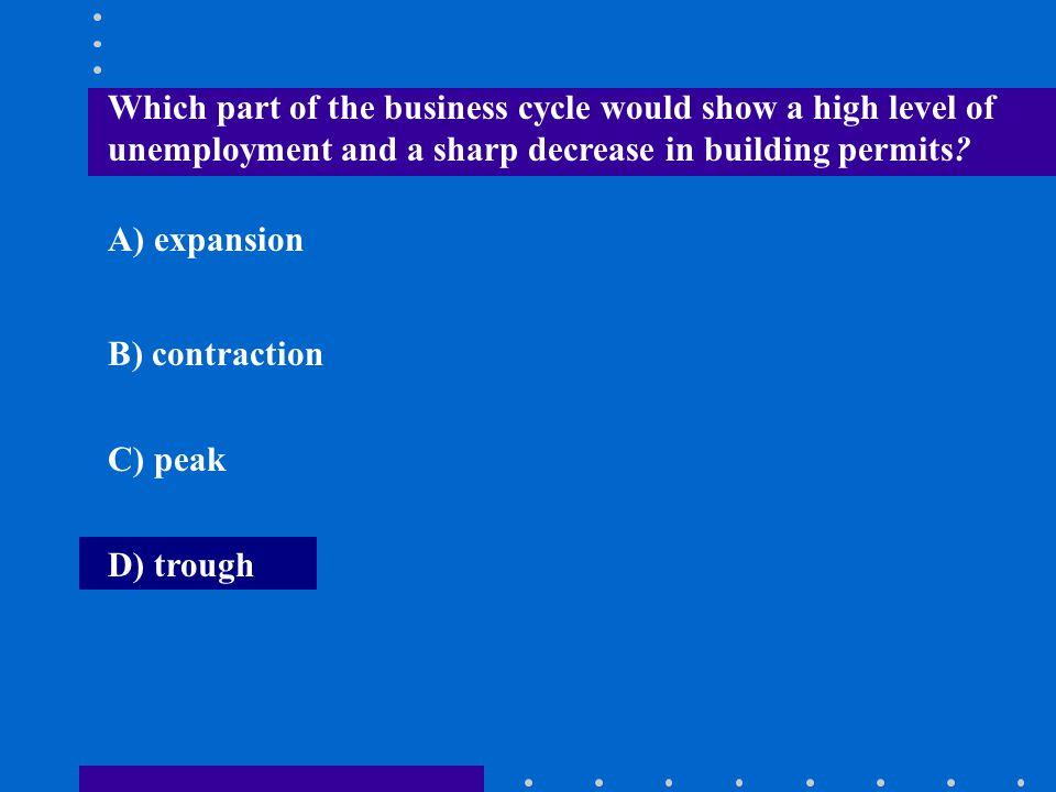 Which part of the business cycle would show a high level of unemployment and a sharp decrease in building permits? A) expansion B) contraction C) peak