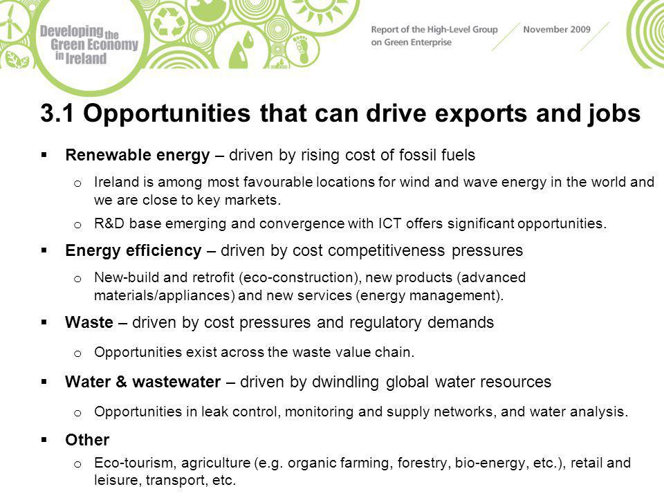 3.1 Opportunities that can drive exports and jobs  Renewable energy – driven by rising cost of fossil fuels o Ireland is among most favourable locations for wind and wave energy in the world and we are close to key markets.