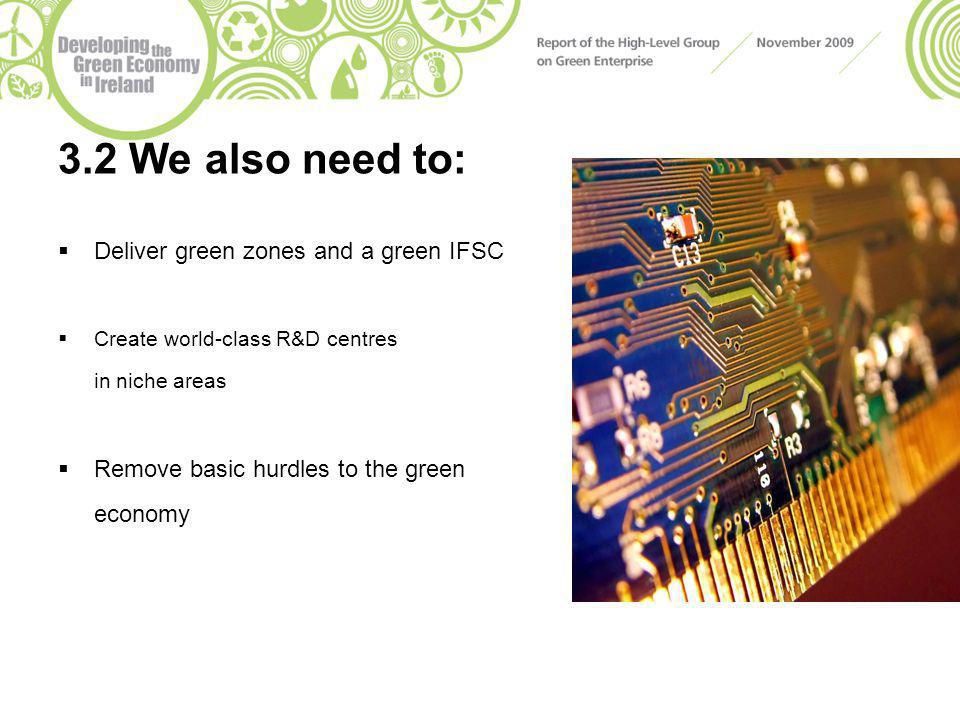 3.2 We also need to:  Deliver green zones and a green IFSC  Create world-class R&D centres in niche areas  Remove basic hurdles to the green econom
