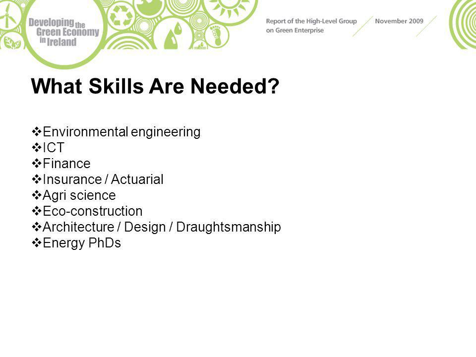 What Skills Are Needed?  Environmental engineering  ICT  Finance  Insurance / Actuarial  Agri science  Eco-construction  Architecture / Design