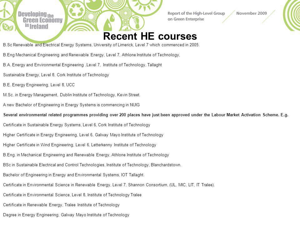 Recent HE courses B.Sc Renewable and Electrical Energy Systems, University of Limerick, Level 7 which commenced in 2005. B.Eng Mechanical Engineering
