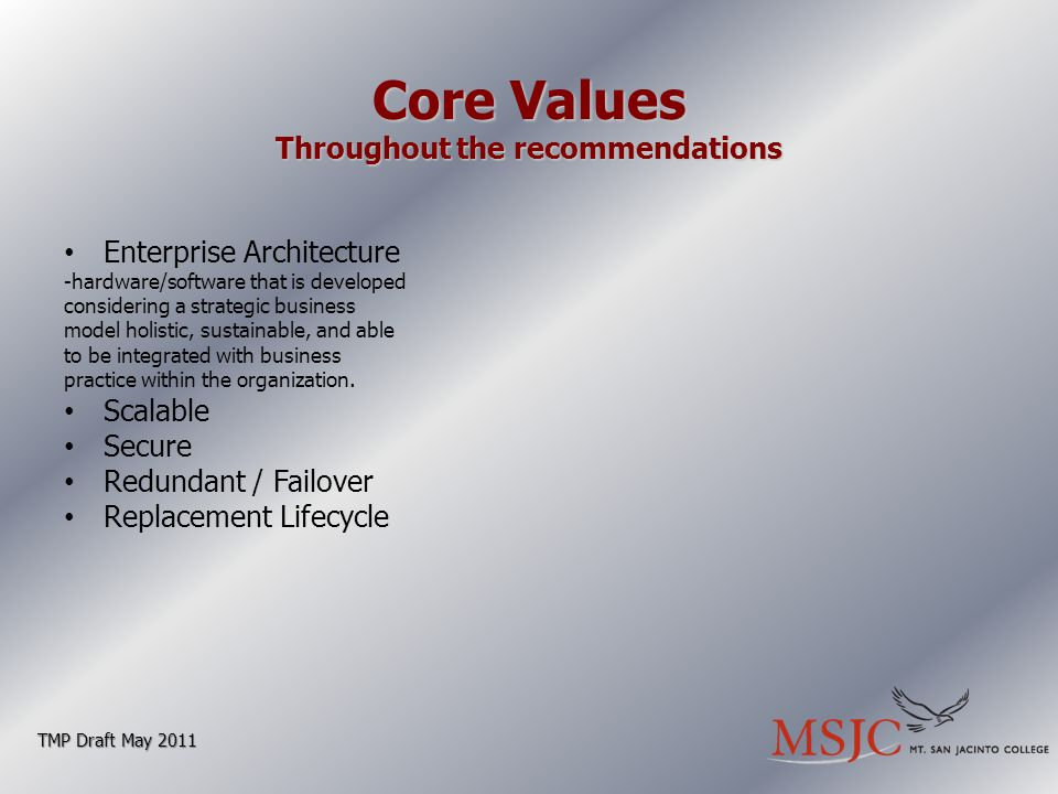 Core Values Throughout the recommendations Enterprise Architecture -hardware/software that is developed considering a strategic business model holistic, sustainable, and able to be integrated with business practice within the organization.