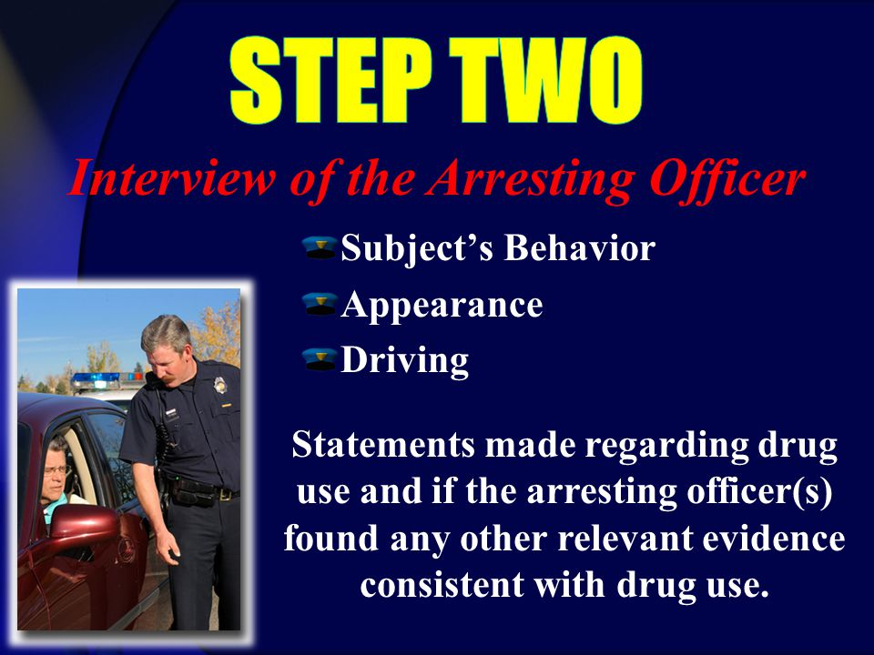 Subject's Behavior Appearance Driving Statements made regarding drug use and if the arresting officer(s) found any other relevant evidence consistent