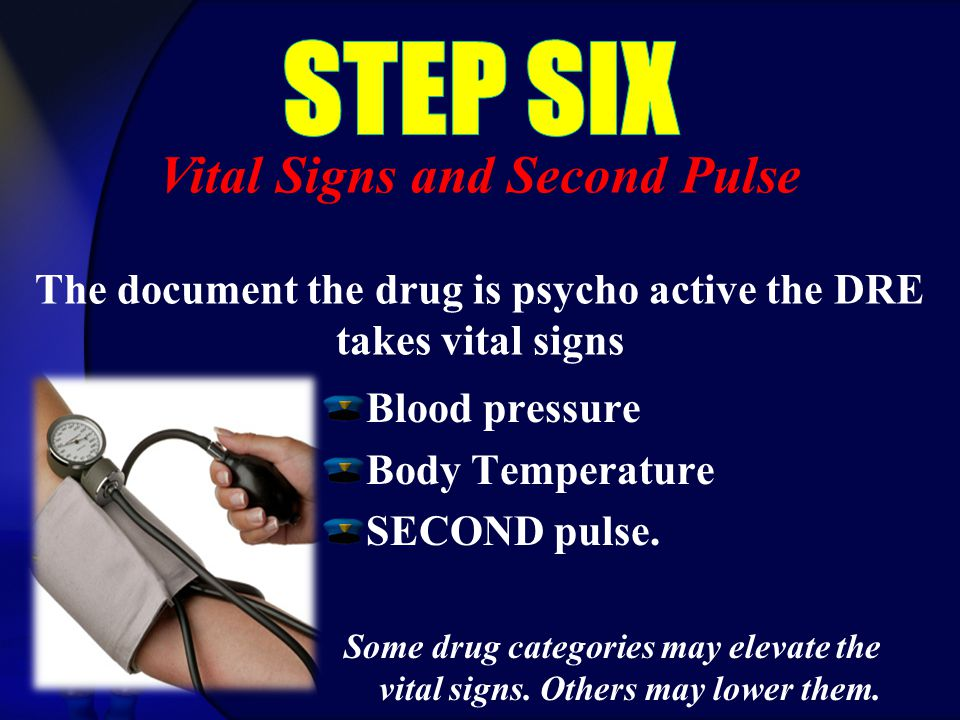 Blood pressure Body Temperature SECOND pulse. Some drug categories may elevate the vital signs.