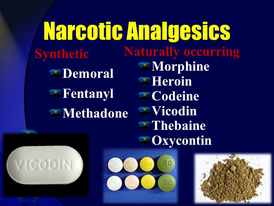 Narcotic Analgesics Naturally occurring Morphine Heroin Codeine Vicodin Thebaine Oxycontin Synthetic Demoral Fentanyl Methadone