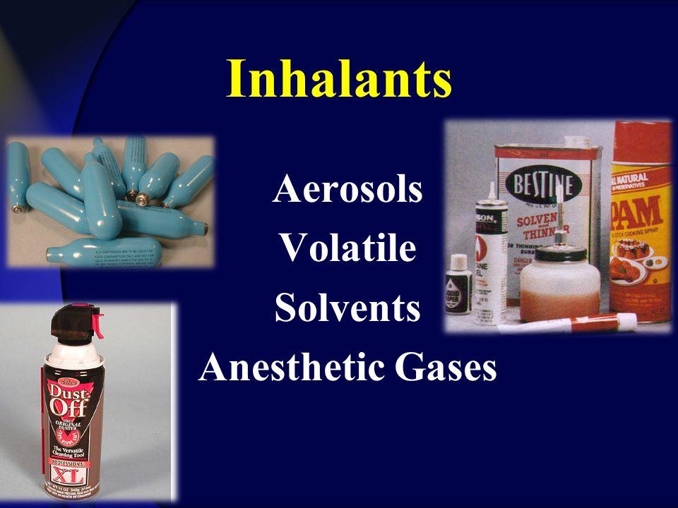 Inhalants Aerosols Volatile Solvents Anesthetic Gases